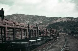Loading logs onto the railroad in 1939 - BHNF library